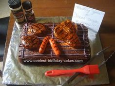 Homemade BBQ Grill Cake...want this for John!