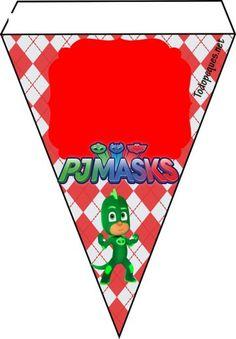 cunpleaños pj masks - ideas fiesta pj masks - banderines gekko pj masks