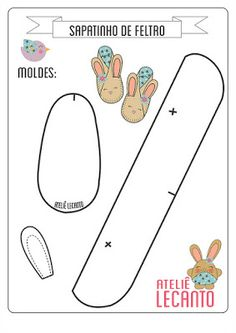 doll accessories Herbie's Doll Sewing, Knitting & Crochet Pattern Collection: Bunny Slippers Pattern - ( Resize For Requirements. Doll Shoe Patterns, Baby Shoes Pattern, Baby Moccasin Pattern, Dress Patterns, Sewing Patterns, Baby Sewing Projects, Sewing For Kids, Handgemachtes Baby, Felt Baby Shoes