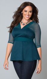 Curvalicious Clothes :: Plus Size Tops :: Pretty Peplum Mesh Top Teal Temptation Looks Plus Size, Plus Size Tops, Plus Size Women, Plus Size Dresses, Plus Size Outfits, Flattering Outfits, Girl Fashion, Fashion Outfits, Style Fashion