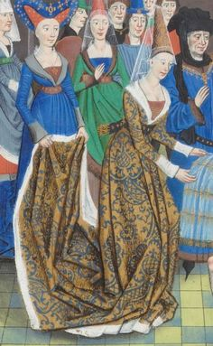 Note the hennins with their sheer veils, as well as the truncated hennin. Regnault de Montauban, tome Date d'édition : réserve Folio Medieval Dress, Medieval Costume, Medieval Fashion, Medieval Clothing, Historical Clothing, Steampunk Clothing, Steampunk Fashion, Medieval Tapestry, Medieval Art
