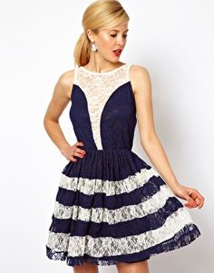 Navy & Cream Lace Skater Dress #asos #gorgeous