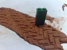 tegeltjes patroon gemaakt met legoblokje