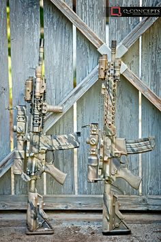 """manlythings: """"Absolutely beautiful camo job on these rifles… practical and really unique looking. Military Weapons, Weapons Guns, Airsoft Guns, Guns And Ammo, Tactical Rifles, Firearms, Shotguns, How To Paint Camo, Camo Paint"""