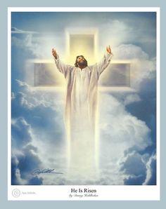 He Is Risen by Danny Hahlbohm - 4 Unframed Options Jesus Has Risen, He Is Risen, Jesus Loves You, Cross Pictures, Jesus Pictures, He Is Lord, Lord And Savior, Jesus Christ Images, Jesus Art