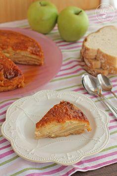 Tarta o Pudin de manzana y pan de molde en microondas. Receta paso a paso