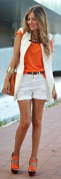 White & Orange street style