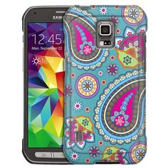 Samsung Galaxy S5 Active Fun Paisleys on Teal Slim Case