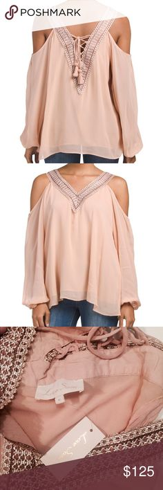 "Love Sam Blush Rose Lace-Up Blouse | M Lace frames shoulder baring style | V-neck | shoulder sleeve cut outs | Long sleeves with gathered cuffs | Lace Up back | About 26"" from shoulder to hem 