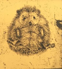 Happy Hedgehog by Claire Russell. 22ct gold leaf on glass (verre eglomise) 8x8cm miniature
