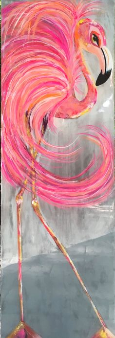 Meet George....... as I painted him, I was tuned into a George Michael tribute station , that really had me really nostalgic and inspired. He is footloose and free thinking Flamingo...with feathers that swirl and flow in the wind! One of my most delightful flamingos, I would say! I do believe he has every shade of pink that exists! Done on reclaimed wood with a glassy overlay. 48x16