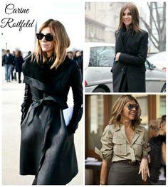 Carine Roitfeld iniciou sua carreira como modelo em Paris e em seguida virou produtora de moda e redatora de pequenos textos para a revista ELLE. Dona de um estilo marcante tornou-se também stylist de campanhas publicitárias. Após um trabalho para a Gucci projetou-se para o universo fashion internacional, tornando-se editora de moda na Vogue francesa.  Carine chama muita atenção por ter a cara da mulher moderna e esbanjar estilo e elegância.