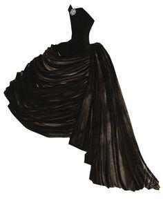 Yves Saint Laurent | bustier dress paper doll collage ✭ vintage 50s fashion ✭ via Fondation Pierre Bergé Yves Saint Laurent