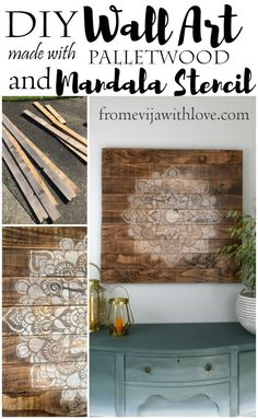 Create a beautiful DIY wall art/sign using palletwood and mandala stencil. DIY tutorial on the blog