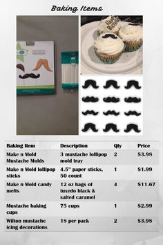 Party Supplies - Baking Items for Mustache Bash