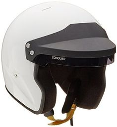 Conquer Snell Approved Open Face Racing Helmet, Gloss White, Large