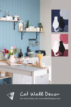 #catwalldecor showing a #blackandwhite #cat pair for a #modernstyle #kitchenwall #colorityourway to match it your #kitchen . Click through to find out how.