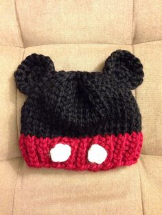 Hey, I found this really awesome Etsy listing at https://www.etsy.com/listing/213489126/chunky-knit-mickey-mouse-inspired-beanie