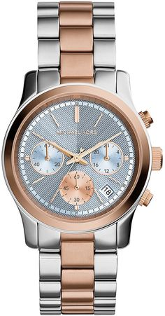 Michael Kors Runway Two-Tone Stainless Steel Watch, Rose Golden/Silver
