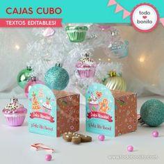 Dulce Navidad: cajitas cubo Christmas Bulbs, Holiday Decor, Goodies, Sweet Treats, Wine Tags, Cubes, Invitations, Christmas Light Bulbs