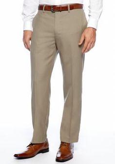 Louis Raphael Khaki Straight Fit Flat Front Dress Pants