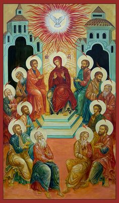Here is an heterodox Pentecost Icon. The Mother of God has not to be here in that place ! We need to read again and again the Holy Scriptures Religious Images, Religious Icons, Religious Art, Church Icon, Saint Esprit, Blessed Mother Mary, Byzantine Icons, Catholic Art, Art Icon