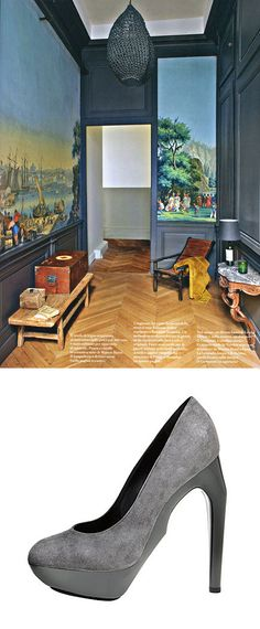 Herringbone floors, dark walls
