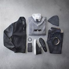 Outfit grid - Grey clothes for a grey day