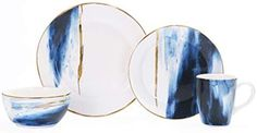Bico Navy Blue Watercolor Marble Gold Decor Handcrafted Ceramic 4 pcs Placing Set/Dinnerware Service for 1, Microwave Safe & Handwash.  Amazon.com