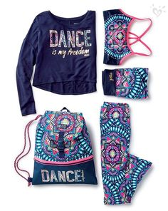 Made-to-match dancewear in bright, Justice-exclusive prints. : Made-to-match dancewear in bright, Justice-exclusive prints. Cheer Outfits, Sporty Outfits, Dance Outfits, Kids Outfits Girls, Girl Outfits, Fashion Outfits, School Outfits, Justice Clothing, Justice Outfits