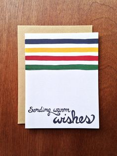 Hudson Warm Wishes  Single Card  A2 size 4 1/4 x 5 by LetterWood, $4.50