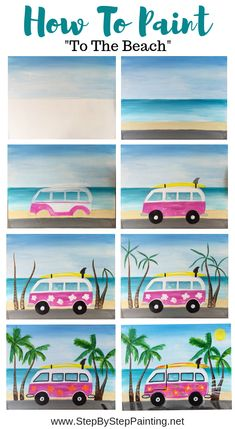 How To Paint A Beach Van Step By Step Painting is part of pencil-drawings - Learn how to paint a fun beach van in this free painting tutoriail Included is a traceable of the beach van, full picture directions, video and materials list Simple Canvas Paintings, Easy Canvas Painting, Diy Canvas Art, Diy Painting, How To Paint Canvas, Beach Paintings, Kids Canvas, Beginner Painting, Acrylic Canvas