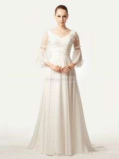 Trumpet Sleeved Chiffon A Line Wedding Dress with Applique