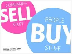 """""""Companies Sell Stuff, People Buy Stuff,"""" PowerPoint and/or Keynote presentation design by Helge Tennø. Lots of white space, attractive mixed type, and funky colors really ask for attention."""