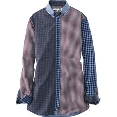 WOMEN IDLF COTTON CHECK LONG SLEEVE SHIRT From Uniqlo Too much Blue!  Too bad it doesn't come in other color combinations!