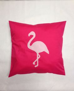 Flamingo - Alice In Wonderland Bright Pink Unique Cushion Pillow Cover Felt Bird Modern Design Shabby Chic Applique