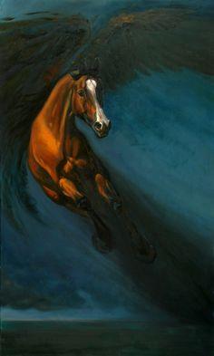 Pegasus, oil on canvas - available for sale- 100x60,  Daria Solar Art, a painter from the #lovingvincent team,  http://www.dariasolar.eu/   #konie #hippika #horses #equestrian #stalion #pegasus #pegaz #polo