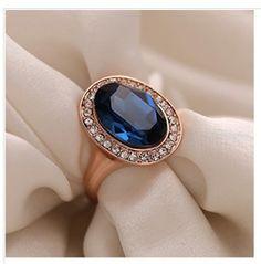 Fashion 9 K Gold Plated Alloy Wedding Ring Blue