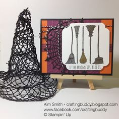 2015 Stampin' Up Holiday Catalog - I love some of my pre-order items from the upcoming holiday catalog.  This cute card features several items - Washi Tape, Web Doilies, corner punch and Halloween Stamp set - If the broom fits  Gotta love it!