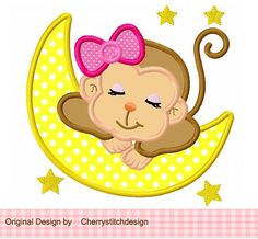 Sleeping baby monkey for girls digital applique -4x4 5x7 6x10-Machine Embroidery Applique Design on Etsy, $2.99