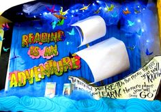 Reading is an Adventure Library Display from Rachel Moani We actually have a plastic pirate ship. possible shelf top display Teaching Displays, School Displays, Classroom Displays, Classroom Themes, Library Themes, Library Book Displays, Class Library, Library Ideas, Library Humor