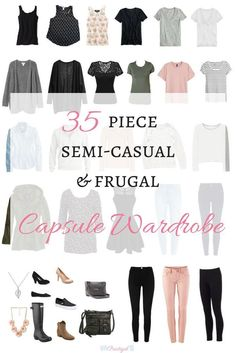 Take a peak at the items in my semi-casual and frugal spring capsule wardrobe for 2018, and even shop for the same or similar items. This capsule is perfectly affordable! A capsule wardrobe is a smaller, pared down wardrobe of only items you absolutely lo