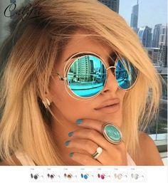 Absolutely Stylish Vintage Shades CALIFIT Ladies Oversized Mirror Round Sunglasses
