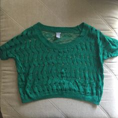 Netted/Lace Crop Top Size Small (fits more like a medium) Charlotte Russe Netted in the front, laced in the back. Worn once. Tops Crop Tops