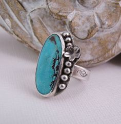 Floral Turquoise Sterling Silver Metalsmith Ring. Oval Cocktail Ring. One of a Kind Jewelry