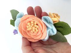 Felt flower mini crown peach and mint mini by TreasuredPeach