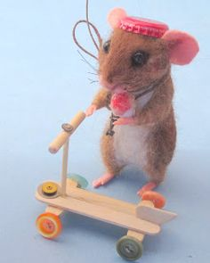 Needle Felted Art by Robin Joy Andreae, cute mouse and his scooter