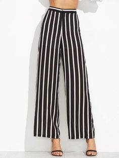 41c8fb3ec8 Trousers Black and White Polyester Work Striped Wide Leg Zipper Fly High  Waist Long Fabric has no stretch Summer Pants