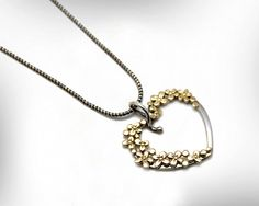 Hearts Pendant Necklace- Flowers Necklace,  January Birthstone- Gold and Silver Pendant,  Women Jewelry, Gift Ideas, Free Shipping