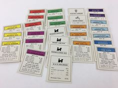 Monopoly Property Cards Complete Set Vintage played with condition (M6)  #Hasbro